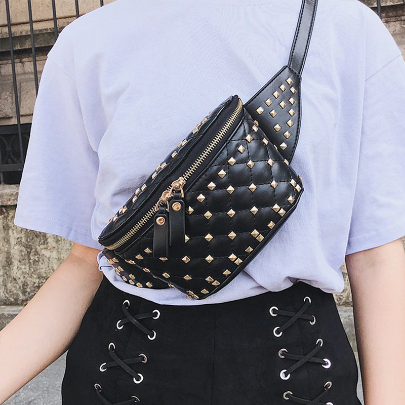 New Coin bag 2018 PU Leather black Waist Bags Women Designer Fanny Pack Fashion Belt Bag Female Mini Waist Pack Messenger Bolsa