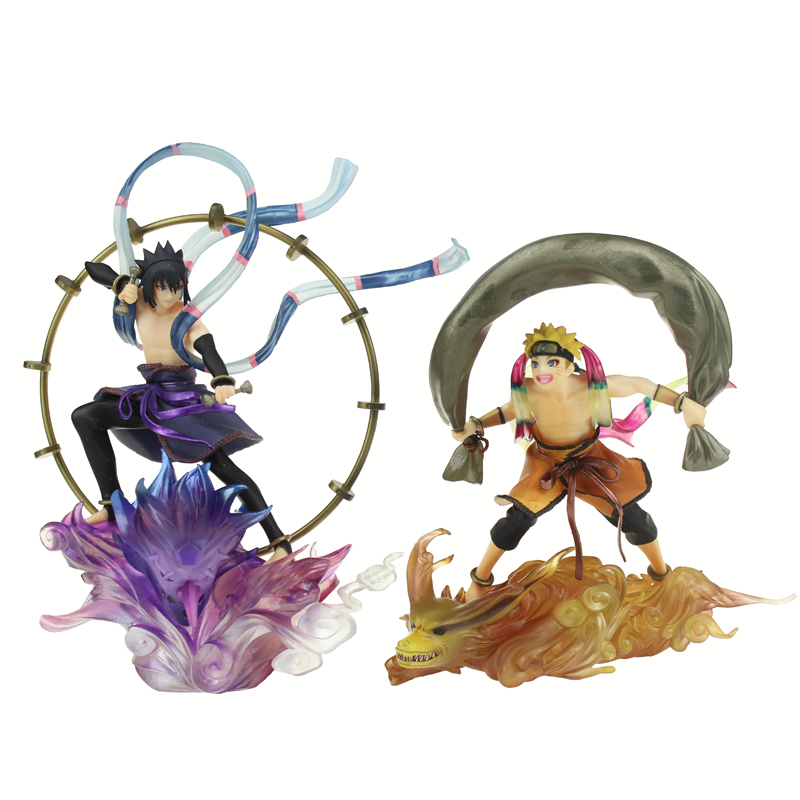 Free Shipping 2pcs 7 Naruto Anime Uzumaki Naruto VS Uchiha Sasuke GEM Ver. Boxed 18cm PVC Action Figure Model Doll Toys Gift naruto action figure toys uchiha sasuke uchiha madara q version anime pvc figure toys dolls model kids best christmas gift