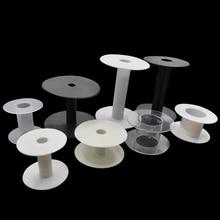 6pcs/lot White Black Transparent Plastic Empty Wire Spools Bobbins Round Ends Cord Ribbon Sewing Storing DIY Party Decoration