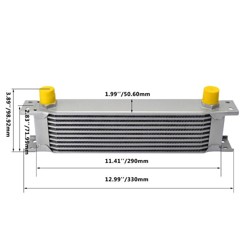 evil energy 10Row 10AN Engine Oil Cooler Kit  Swivel Fuel Hose Line+AN10 Seprator Divider Clamp+Oil Adapter Filter Cooler Plate