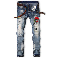 Flower Embroidery Jeans Men Slim Patched Designer Fashion Cool Jean DJ Nightclub Individuality Unique Denim Pant Trousers