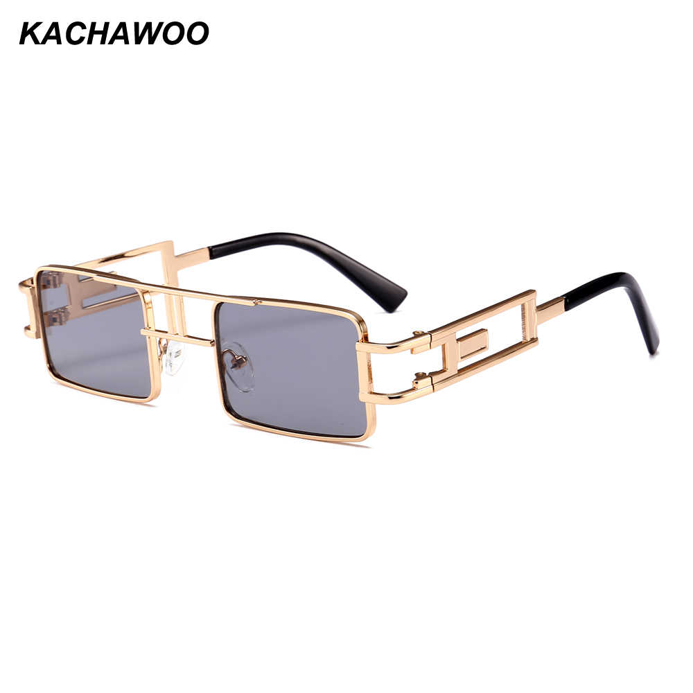 Kachawoo retro steampunk sunglasses men rectangle gold metal frame green yellow red sun glasses for women summer 2018 uv400