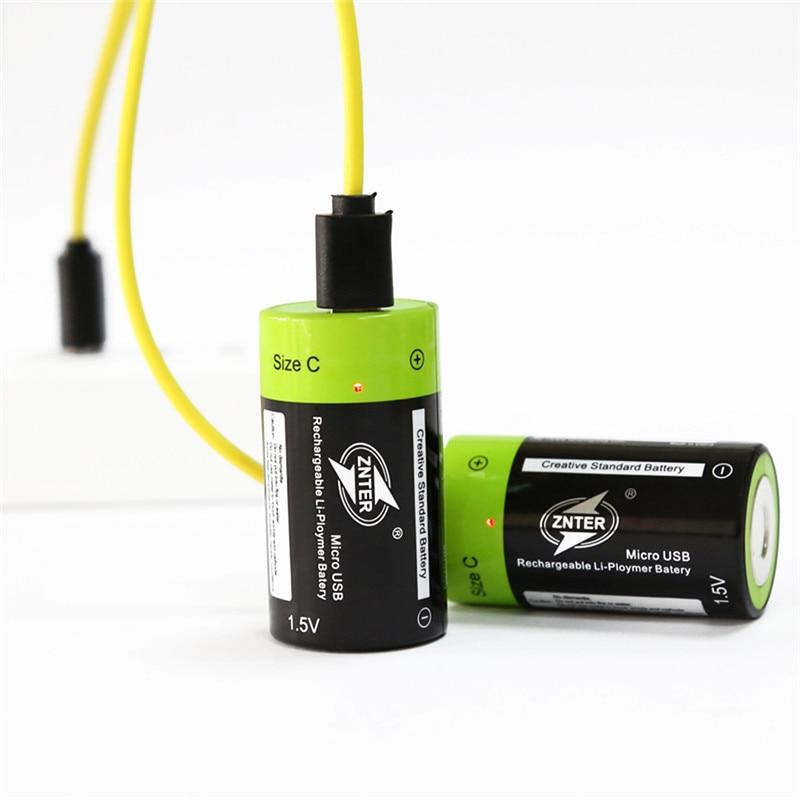 ZNTER ZNT2-1 3000mAh Rechargeable Battery 1.5V 2A Lithium Polymer Battery Micro USB Charging C Batteries Pilha Recarregavel