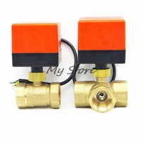 AC220V 3 Way 3 Wires Electric Actuator Brass Ball Valve Cold Hot Water Vapor Heat Gas