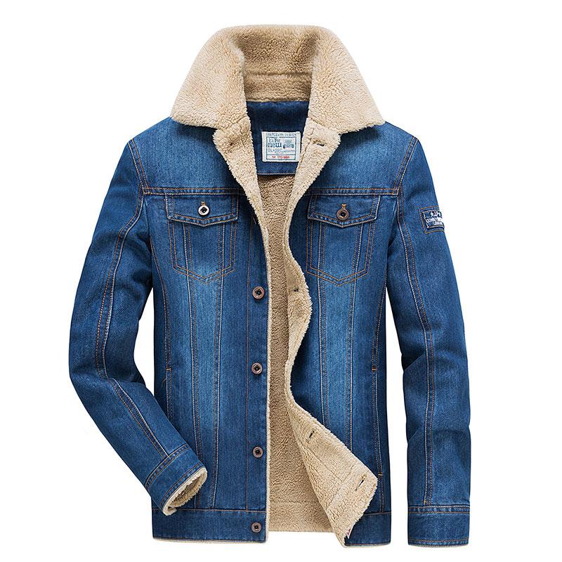 Retro Denim Coats Men Fleece Winter Plus Cashmere Thick Cotton Clothing Big Size M~4XL Jackets Casual Brand AFS JEEP Mens Coats