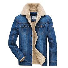 Retro Denim Coats Men Fleece Winter Plus Cashmere Thick Cotton Clothing Big Size M~4XL Jackets Casual Brand AFS JEEP Mens Coats