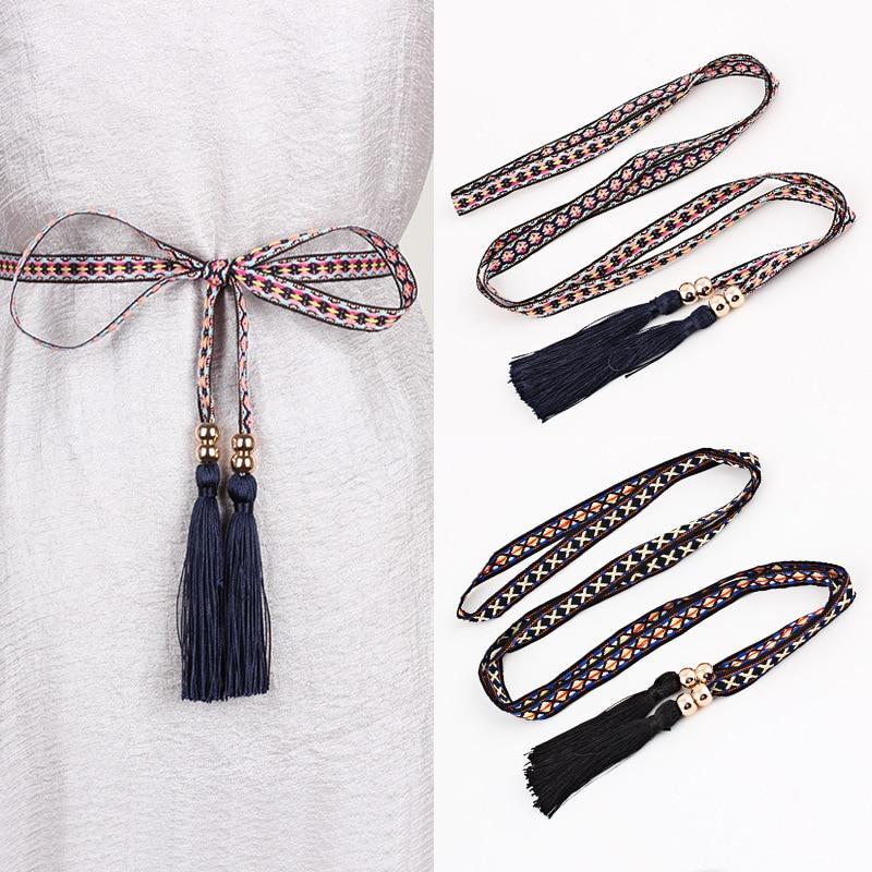 Women Rope Belt Geometry Braided Tassels Waistband Ethnic Style Thin Waist Strap Fashion Casual Dress Accessories