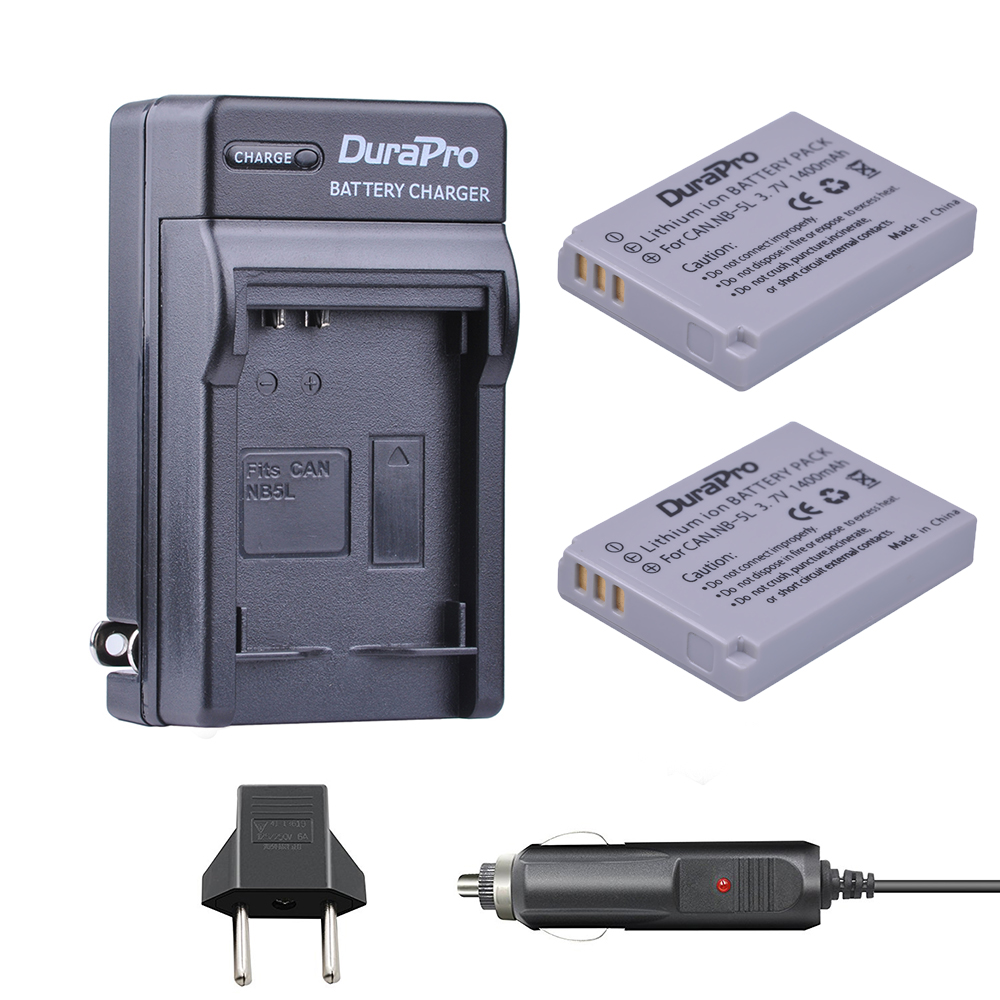 2pc NB-5L NB 5L NB5L Li-ion Battery+Car Charger For Canon S110 SX200 SX210 SX220 SX230 IS HS IXUS 850 870 800 860 990 SD 950 970