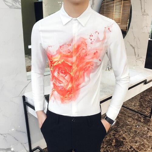 5475f257b1a9 2018 Men's Long Sleeve Shirts Szie S M XL 2XL 3XL Black White Fashion Night  Club Man Casual Flower Shirt Slim Elegant-in Casual Shirts from Men's  Clothing ...