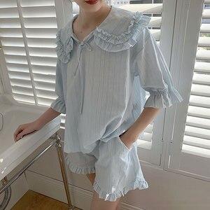 Image 1 - קיץ נשים של לוליטה נסיכת פיג מה סטים. חולצות + מכנסיים קצרים. בציר גבירותיי ילדה של תור למטה צווארון פיג סט. הלבשת Loungewear