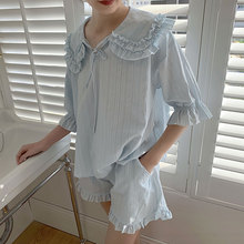 Mùa Hè Nữ Lolita Công Chúa Pyjama Bộ. Áo + Quần Short. Đầm Nữ Cô Gái Cổ Gập Pyjamas Bộ. Đồ Ngủ Loungewear