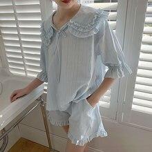 Summer Womens Lolita Princess Pajama Sets.Tops+Shorts.Vintage Ladies Girls Turn Down Collar Pyjamas set.Sleepwear Loungewear
