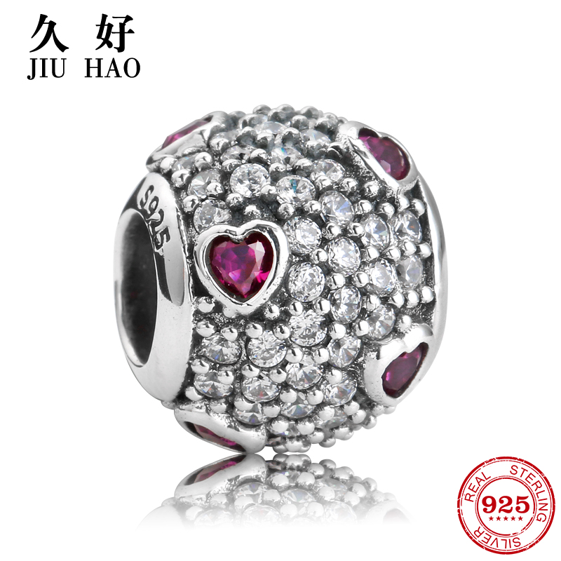 Authentic 925 Sterling Silver Beads with Purple Crystal heart Zircon Fit Original Pandora Charm Bracelet Jewelry trendy 2018