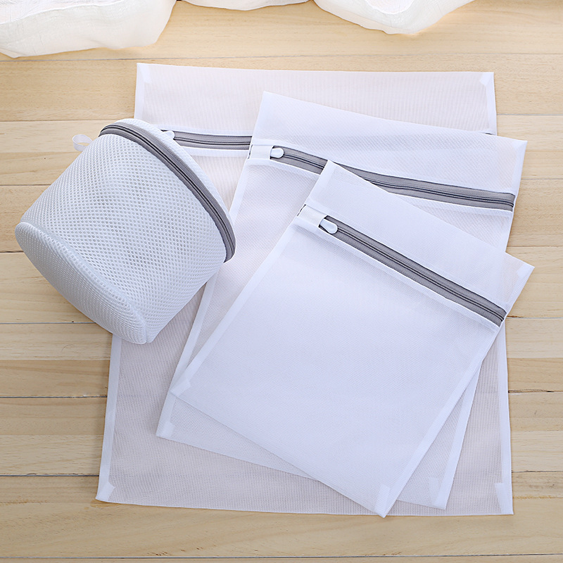 4pcs Set Thicken Fine Mesh White Laundry Bag Set Safety And Hygiene Wash Bag