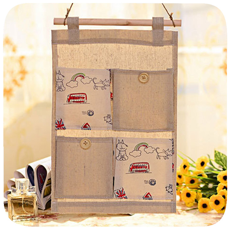 New Multi Door Hanging with Cotton Fabric Wall Hanging Bag Multilayer Storage Organizer Pouch Wall Hanging Bag Storage Bag