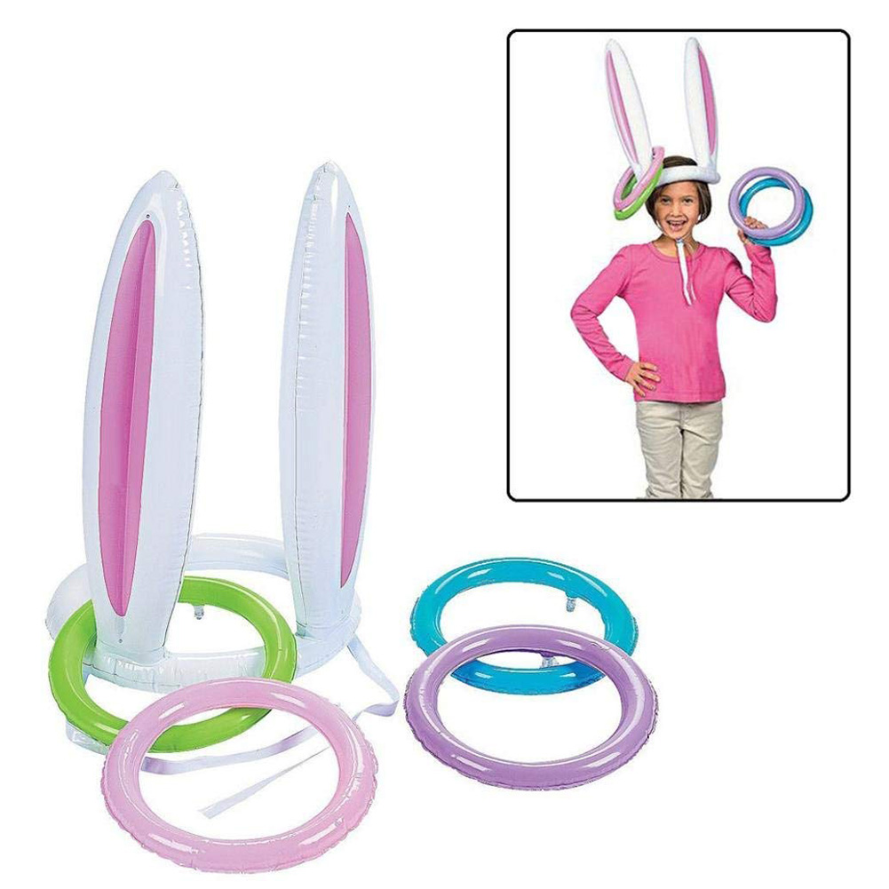 Inflatable Bunny Ears Ring Toss Games Party Game Toys For Kids Parents Christmas Indoor Play  FJ88
