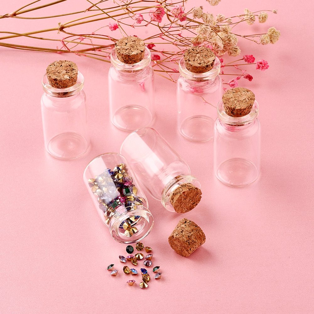 Glass Jar Glass Bottles, with Tampions, Bead Containers, Clear, 50x27mm glass bottle