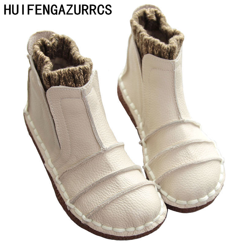 HUIFENGAZURRCS New Pure handmade boots Genuine leather shoes The retro art mori girl shoes Casual retro