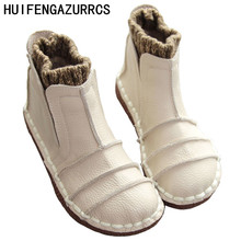 HUIFENGAZURRCS-New Pure handmade boots,Genuine leather shoes,The retro art mori girl shoes,Casual retro short boots,3 colors
