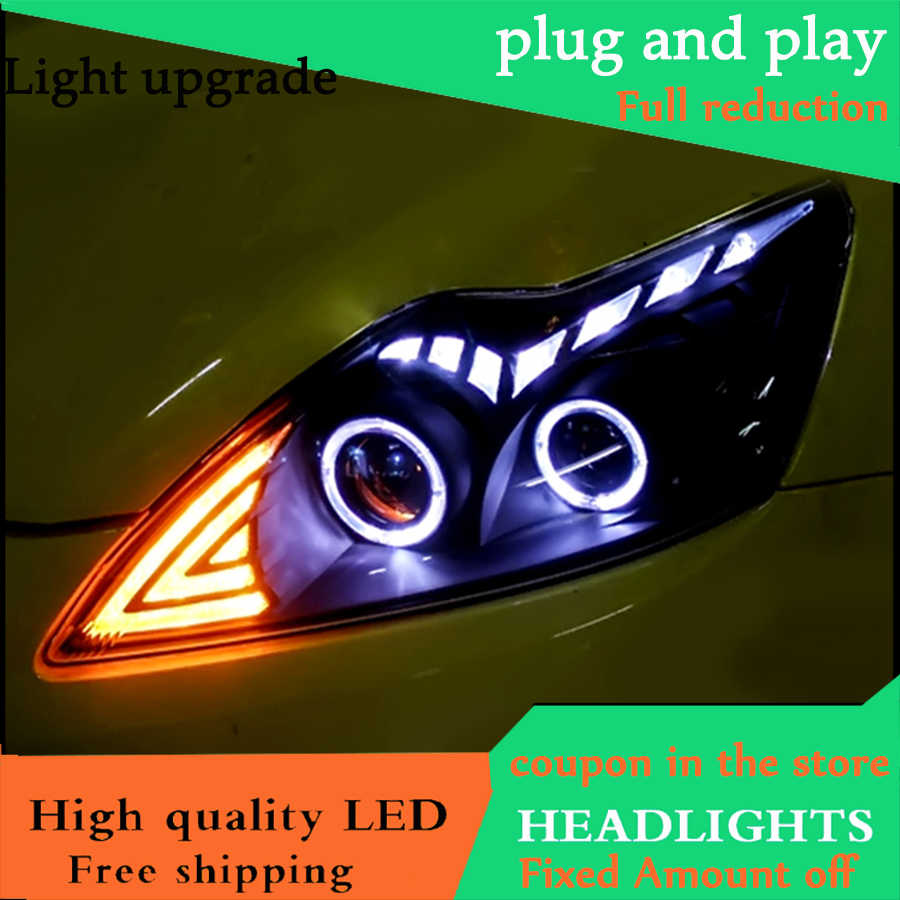 Car Styling Head Lamp For Ford Focus MK2 Headlights 2009-2013 LED Headlight DRL Bi Xenon Lens High Low Beam O Angel Eyes DRL