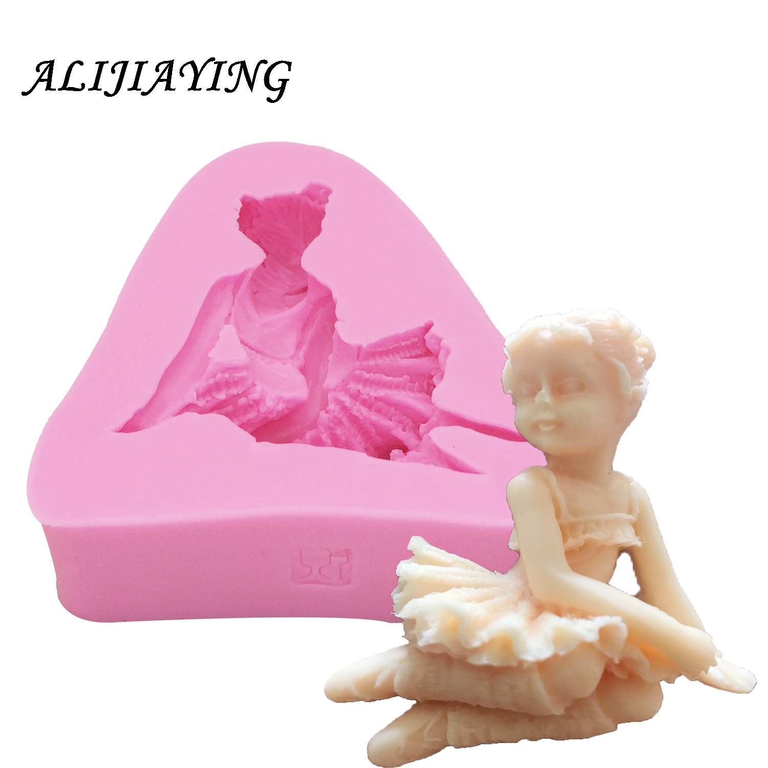 1Pcs 3D Angel dancing Girl Flower Fairy Fondant Chocolate Silicone Mold For Cake Decorating Tools Soap Candle D0152