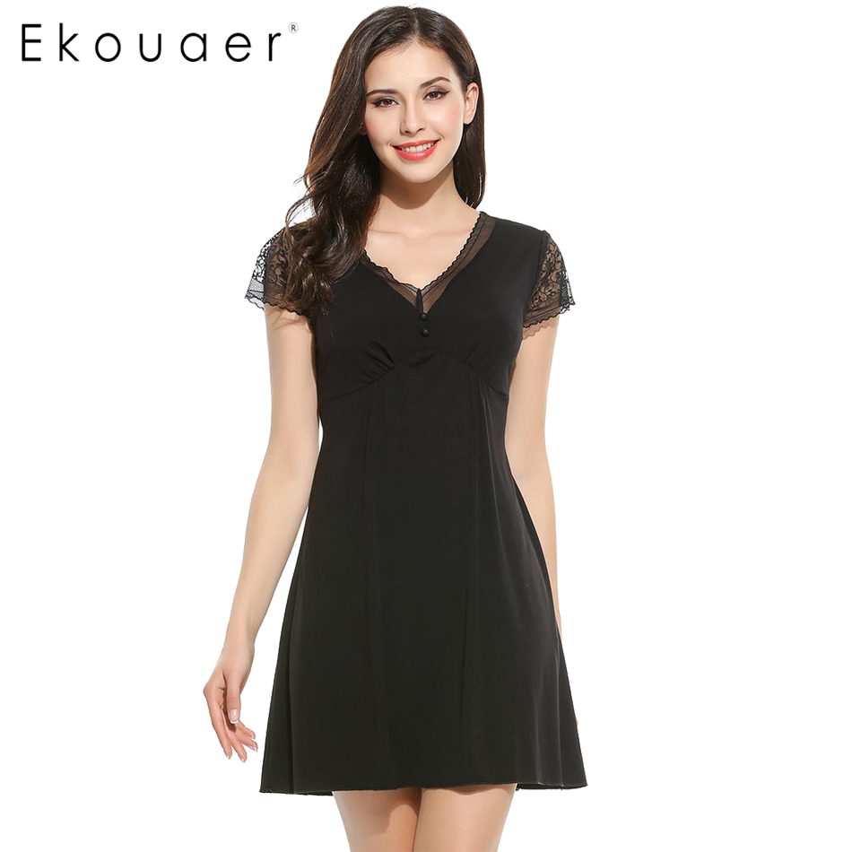 Ekouaer Sexy Nightdress Lace Short Sleeve Babydoll Lingerie Women   Nightgowns     Sleepshirts   Black Sleepwear Dress Baby Doll Dress