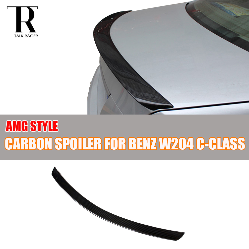 W204 AMG Style Carbon Fiber Rear Wing Spoiler for Mercedes Benz W204 C180 C200 C250 C300 C350 C63 AMG Sedan 4 Door 2007 - 2013 цена
