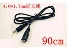 Бесплатная доставка. 1 шт. прямой DC 4.0×1.7 мм женские до 40*1.7 мм Мужской Мощность разъем кабель-удлинитель Разъем адаптер Шнур 90 см
