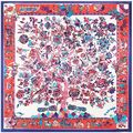 100% Silk Scarf Women Scarf Tree Neckerchief Scarf Silk Bandana 2016 Hot Foulard Animal Small Square Silk Scarf Gift for Lady