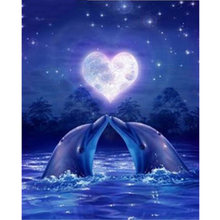 Diamond Painting Romantic Dolphin Love Heart Moon Sea DIY 3D 5D Embroidery Diamond Mosaic Full Complete Kit(China)