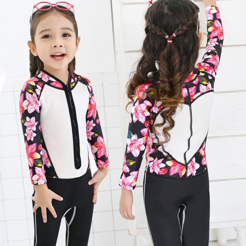 Children Clothes 2018 Girls Boys Sport Long Sleeve Pant Swimsuit One-piece Swimwear Kids Swimming Suit Professional Swimwear