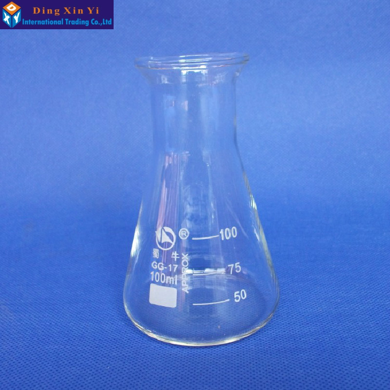 1PC 100ml Glass Conical Flask Glass Erlenmeyer Flask 100ml Laboratory Conical Flask--Free Shipping