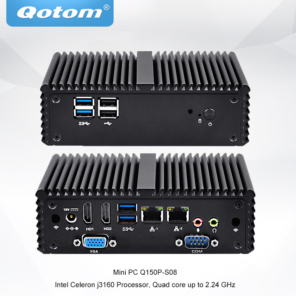 QOTOM Quad core Mini PC with Celeron J3160 processor onboard up to 2 24 GHz Fanless