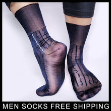PEAJOA Brand Sexy Sheer Soft Socks For Men Nylon silk Thin socks Gentlemen Dress suits Formal high quality Sox