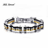 Black Gold Silver Hierarchy 3 Color Stacking Motorcycle Bracelet For Men 10MM Stainless Steel Men Biker