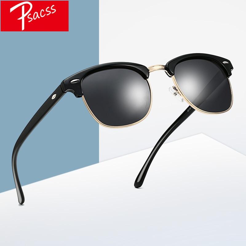Классические квадратные поляризационные солнцезащитные очки Psacss для мужчин и женщин, винтажные высококачественные брендовые дизайнерски...