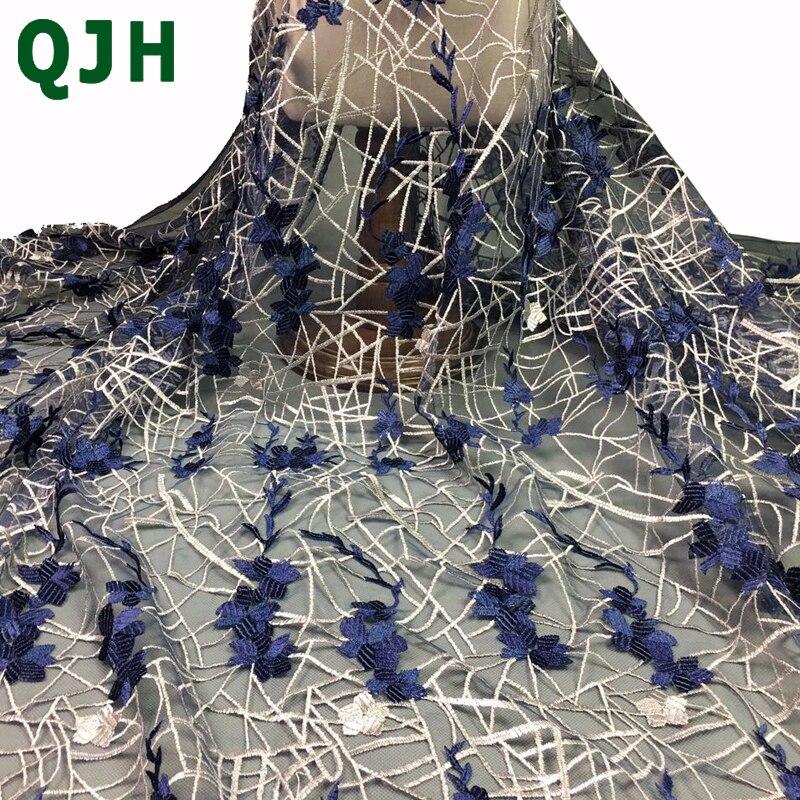 Dernière QJH Marque Français Tissu Africain de Lacet de Haute Qualité Africain Brodé Tulle Dentelle Tissu Pour la Robe De Mariage De Mode