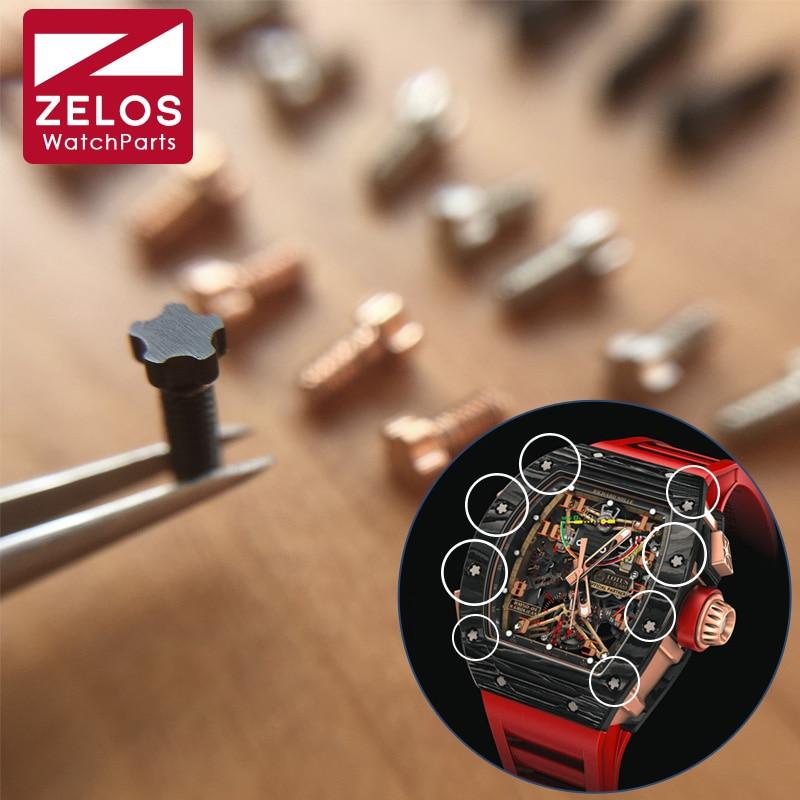 8 pezzi/set PVD nero/argenteo/oro rosa 5 prongs RM guarda vite per Richard miglio orologio lunetta caso posteriore RM011 RM052 RM27 RM050
