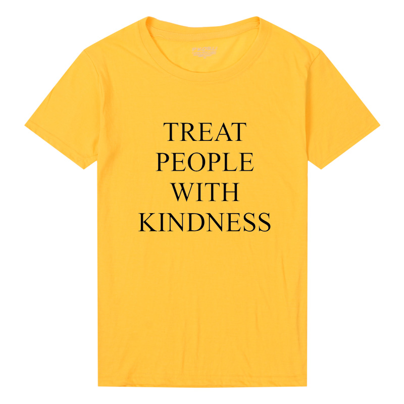 Harry Styles Treat People With Kindness T-Shirt Women Fashion Letter Printed T Shirt Femme Asual Yellow Tee Feminist Tee Tops