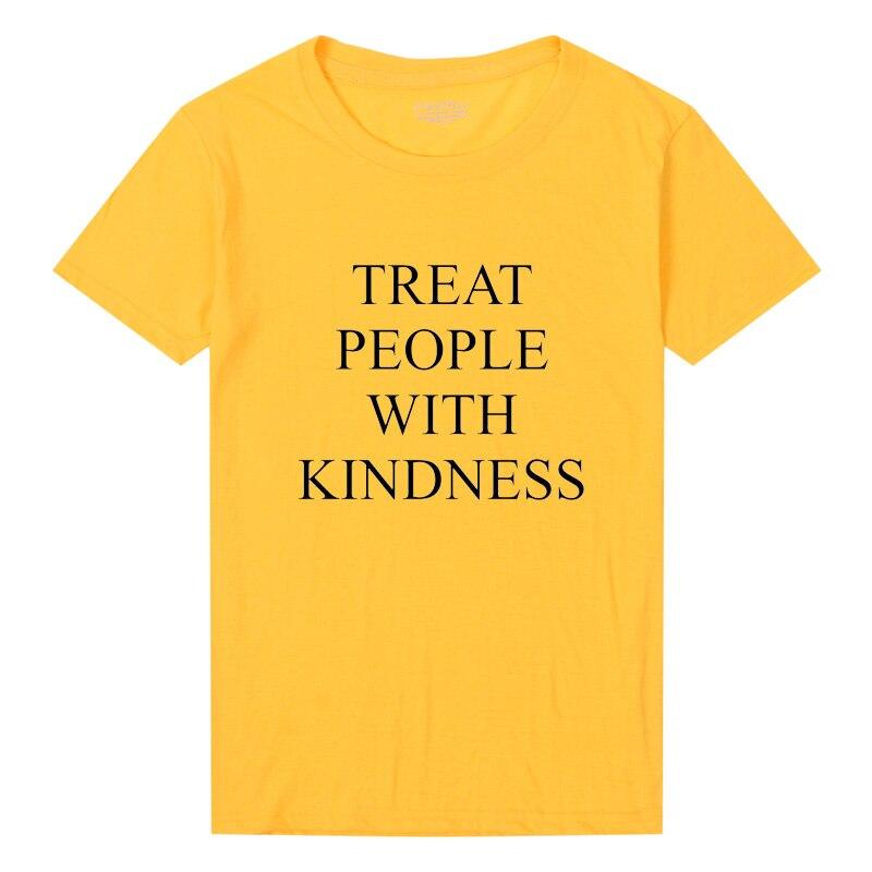 Harry estilos tratar a las personas con amabilidad t-shirt mujeres moda carta impreso mujer Femme asual amarillo camiseta feminista camiseta Tops