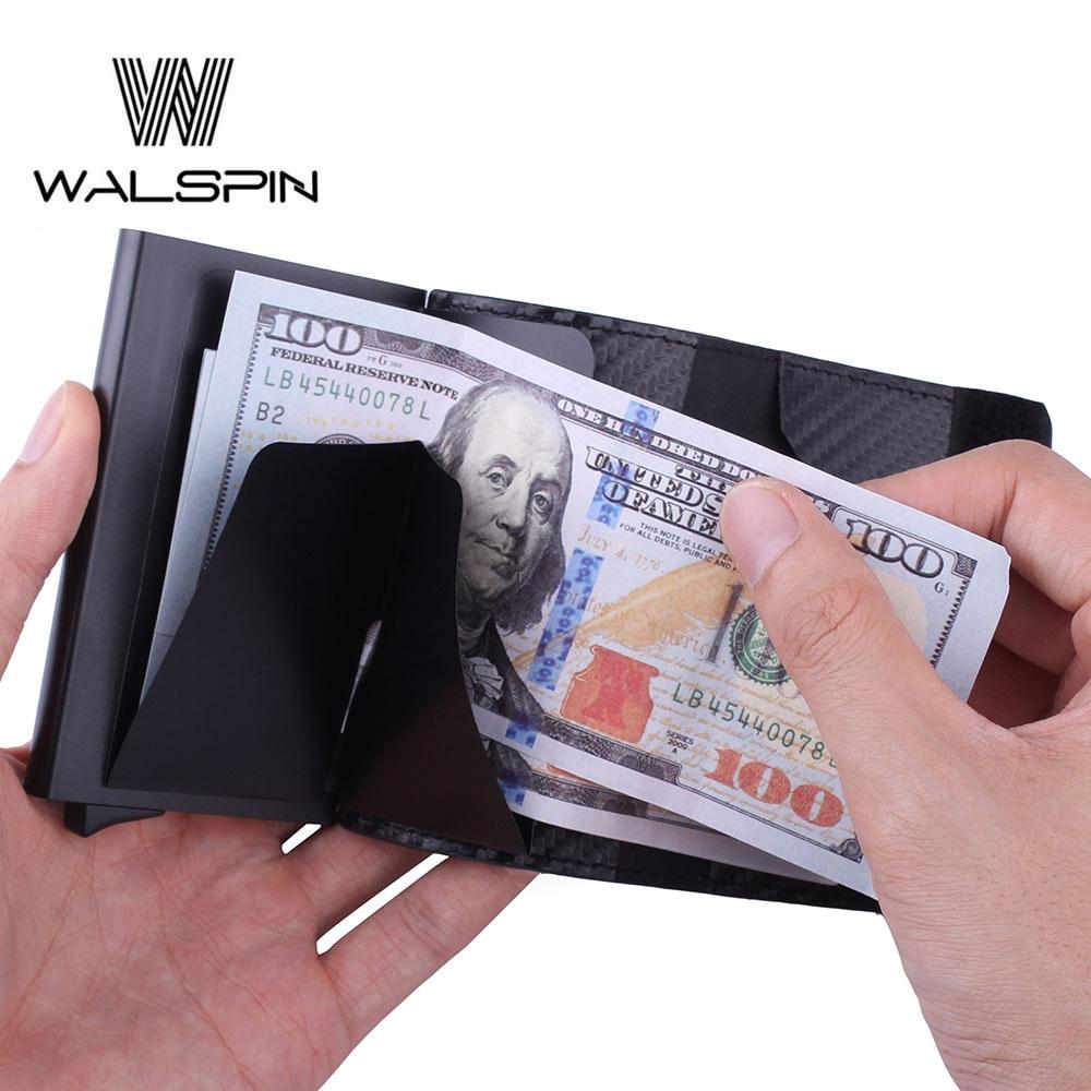 RFID алюминиевый тонкий кожаный мини-кошелек для мужчин и женщин, бизнес автоматический всплывающий ID кредитный держатель для карт 2019