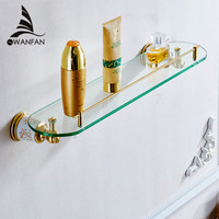 VidricShelves Tempered Glass Gold Brass Shower Rack Shampoo Cosmetic Storage Holder Home Deco Accessories Wall Shelf 87310