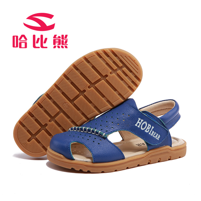 HOBIBEAR 2017 Summer New Boys Sandals Leather Nonslip TPR Kids Shoes Anti-Collision Beach Shoes For Boys