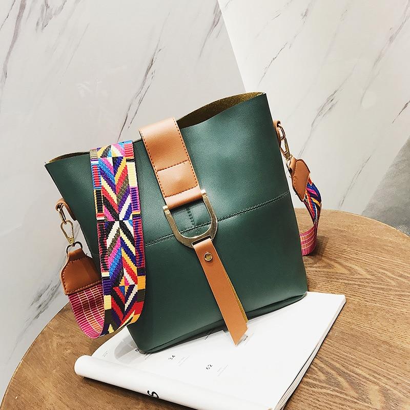 Luxury Bucket Bag Women Leather Shoulder Bag Wide Colorful Strap Handbag Large Capacity Messenger Bag Tote Crossbody Bag