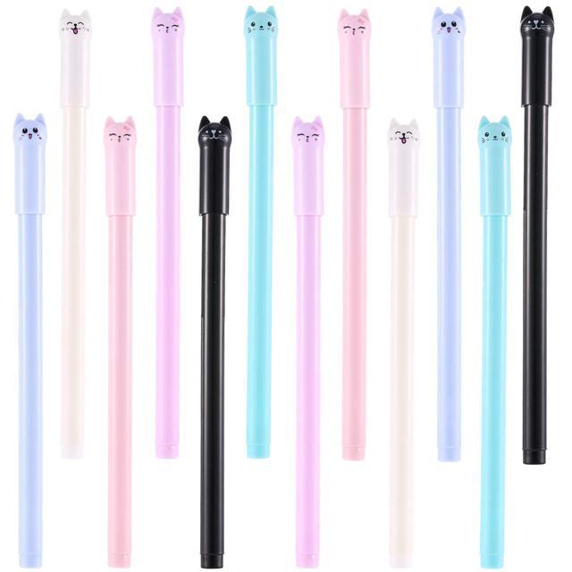 Bolígrafos de Gel Kawaii lindo gato pluma 0,5mm bola punto negro para material de oficina escolar