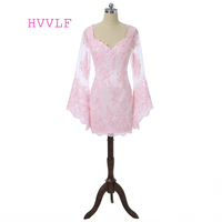 Pink 2017 Elegant Cocktail Dresses Sheath V Neck Long Sleeves Appliques Lace Short Mini Backless Sexy