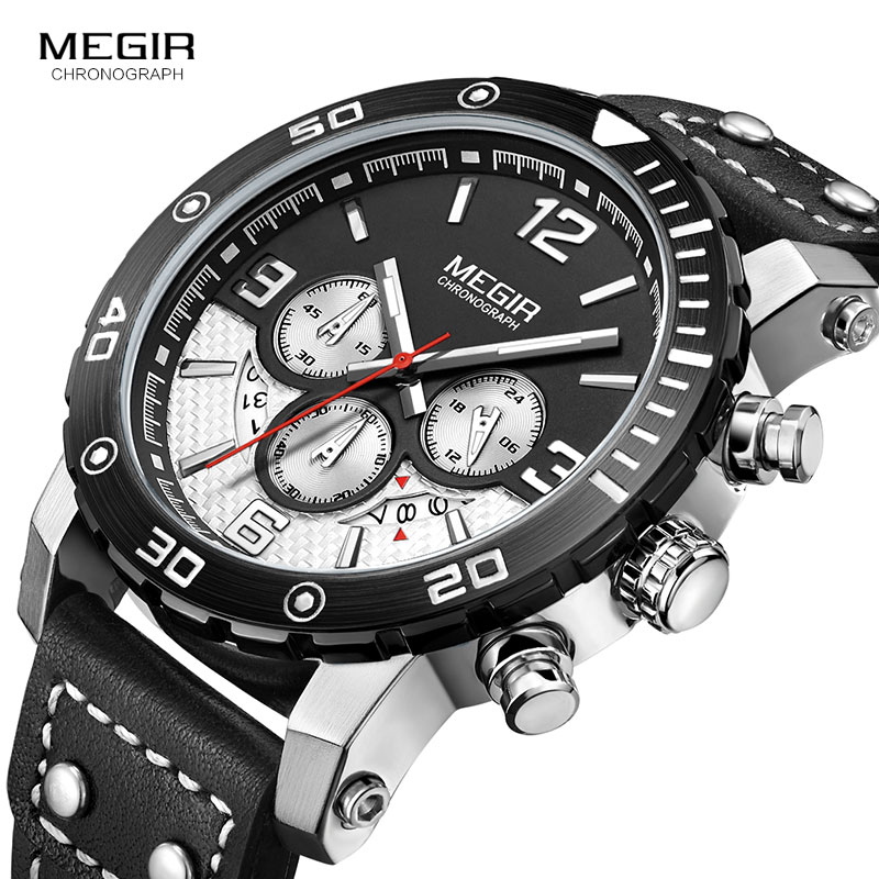 цена MEGIR Official Quartz Men Watch Genuine Leather Watches Clock Men Chronograph Watch Relogio Masculino for Man Male Students