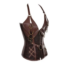 Retro Bustiers Corsets Women Zipper Brown Brocade Steampunk Corset Top With G-string Plus size 3XL-6XL Sexy lingerie Corset set