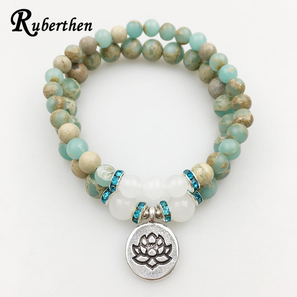 Ruberthen 2017 Hot Sale Lotus Bracelet Set Aqua Terra Stone Bracelet High Quality Yoga Jewelry for Women Free Shipping