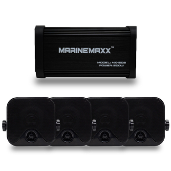 4 Channel 500Watts Marine Blutooth Motorcycle Amplifier Boat Stereo USB MP3 Audio +4″ Marine Waterproof Box Stereo Speakers